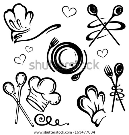 Vector set, chef hats and kitchen utensils - stock vector