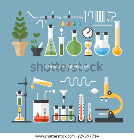 Vector set - chemical designer. Flat design - stock vector