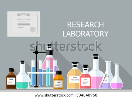 Vector set - Chemical Research Laboratory. Flat design. Flat design The test tube, beaker, flask - stock vector