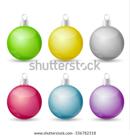 Vector set Christmas balls of various colors - stock vector