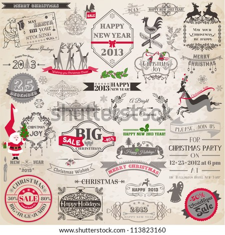 Vector Set: Christmas Calligraphic Design Elements and Page Decoration, Vintage Frames - stock vector
