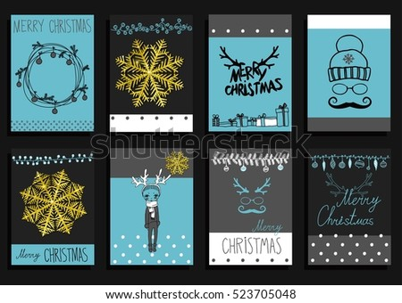 Vector Set Christmas Calligraphic Design Elements and Page Decoration, Vintage Frames with a gold texture set