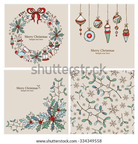 Vector set: Christmas cards and Christmas seamless with Christmas decorations.drawing - stock vector