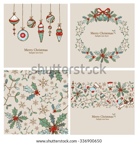 Vector set: Christmas cards and Christmas seamless with Christmas decorations.hand drawn  - stock vector