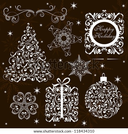 Vector Set: Christmas Decorated Design Elements set  Vintage Frames - stock vector