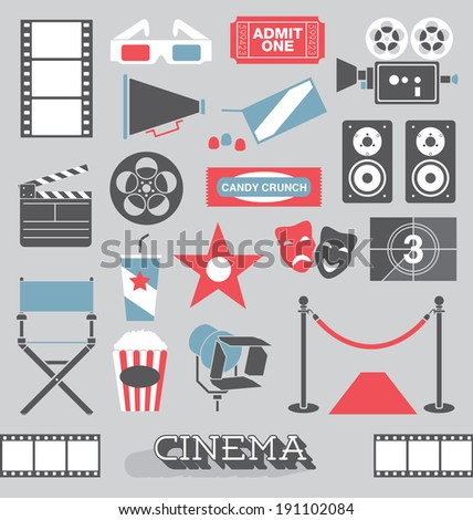 Vector Set: Cinema and Movie Icons and Elements - stock vector