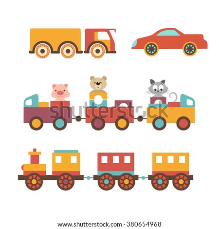 Vector set clip art construction machinery of toys for children. Trucks, cars, locomotive. The train with a trailer seat funny little animals. The piggy, kitten and teddy bear. Vector illustration - stock vector