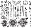 Vector set, collection of floral elements for design - stock vector