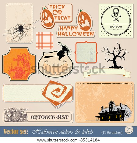 vector set: collection of labels and stickers to prepare for the holiday Halloween - stock vector