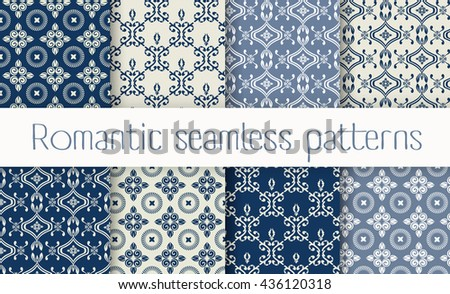 Vector set collection of romantic floral seamless pattern for decoration damask wallpaper, vintage style