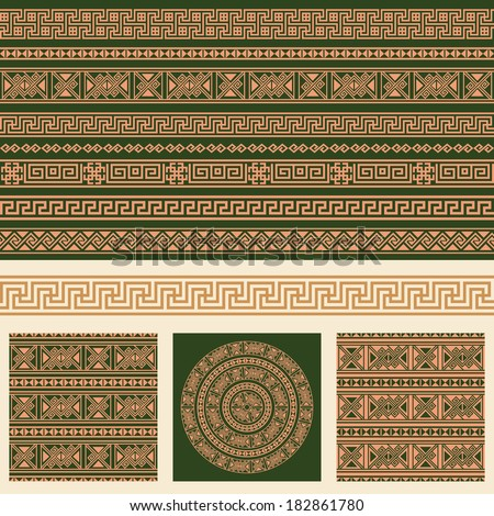 Vector set collections of ethnic Greece design elements. Ornamental seamless pattern, textures, round pattern and borders in one mega pack.  - stock vector