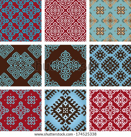 Vector set collections of nine 9 most popular bright ornamental ethnic damask seamless pattern on blue, red, brown colors. - stock vector