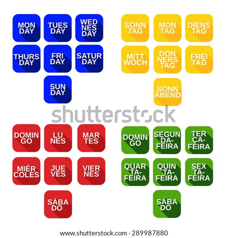 Vector set color square icons with titles of days of the week from Monday to Sunday on english, german, portuguese, spanish languages - stock vector
