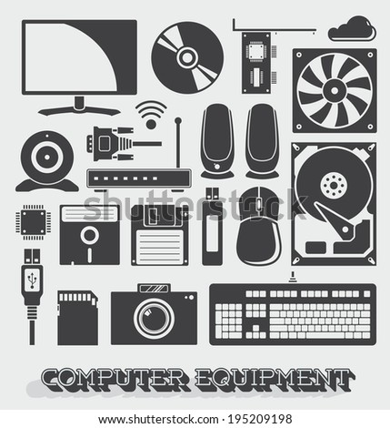 Vector Set: Computer Parts Objects and Icons - stock vector