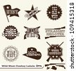 Vector Set: Cowboy and Wild West Labels and Sticker Elements in Vintage Style - stock photo