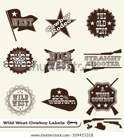 Vector Set: Cowboy and Wild West Labels and Sticker Elements in Vintage Style - stock vector