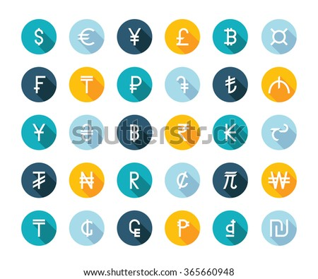 Vector set currency symbols world money on white isolated background. Currency signs representing money in the world. - stock vector