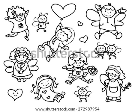 Vector set cute angels cartoons, black silhouettes. - stock vector
