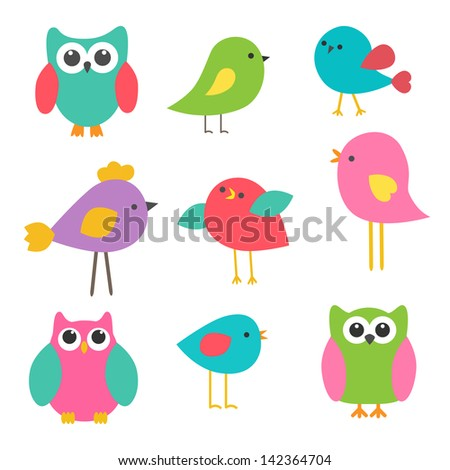 Vector set cute birds and owls - stock vector