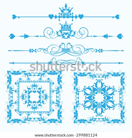 vector set decorative elements vintage style blue on white background - stock vector