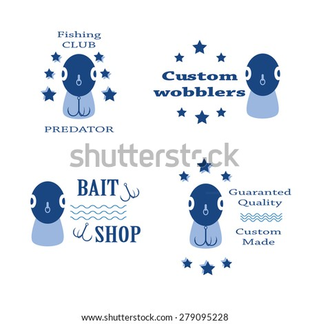 vector set design concepts with bait wobbler front for fishing tackle shop and club - stock vector