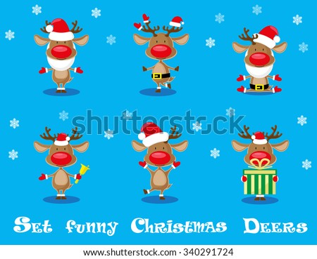 Vector set design elements funny Santa's  deers, christmas bells and gift  isolated on blue background
