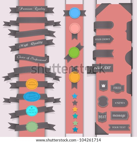 Vector set design elements in retro style - stock vector