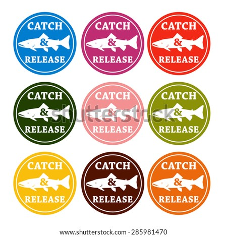 vector set design emblem fishing catch & release with fish and lettering in different colors - stock vector