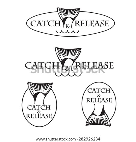 vector set design emblem fishing catch & release with tail - stock vector