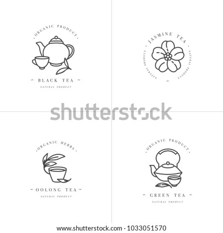vector set design monochrome templates logo stock vector 1033051570