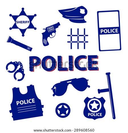 Vector set design silhouette police symbols in dark blue color - stock vector