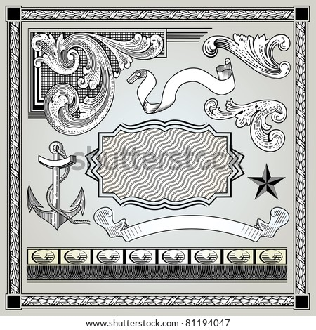 Vector set detailed engraving elements - stock vector