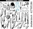 vector set - doodles - brush and pen - stock vector