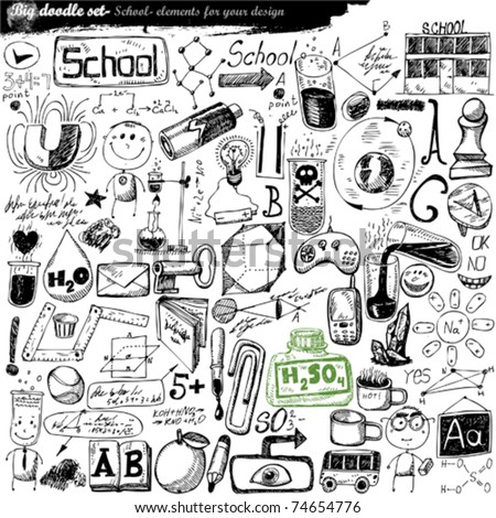 vector set - doodles - science - stock vector