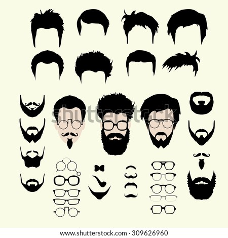 Vector set dress up constructor. Different men faces hipster geek style haircut, glasses, beard, mustache, bowtie, pipe. Silhouette icon creation kit. Design flat avatar for social media or web site - stock vector