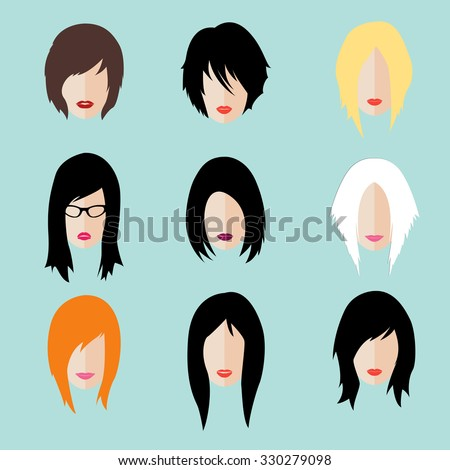 Vector set dress up constructor. Different woman flat faces hipster style haircut, glasses and lips. Silhouette icon creation kit. Design flat avatar for social media or web site - stock vector