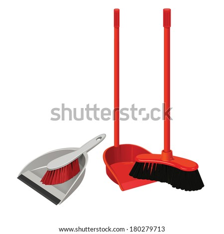 vector set dustpan  broom and brush for cleaning