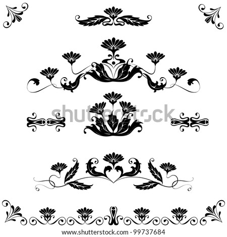 Vector set elements design flowers ornaments.Black and white - stock vector