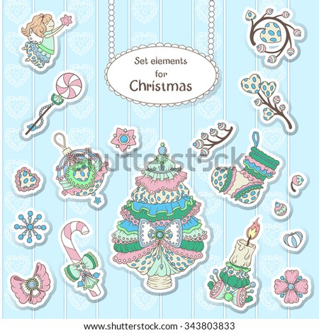 Vector set elements for Christmas and New Year in style Shabby chic. Lacy tree, sock, Christmas decorations, angel, candle.