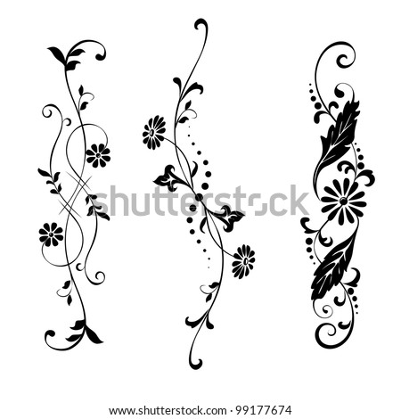 Vector set elements for design flowers and ornaments floral - stock vector
