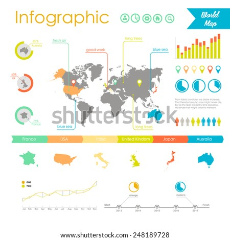 Vector set elements of infographics. World map and information graphics - stock vector