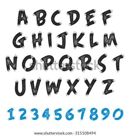 Vector set English alphabet in grunge brush style. Uppercase letters and numbers.