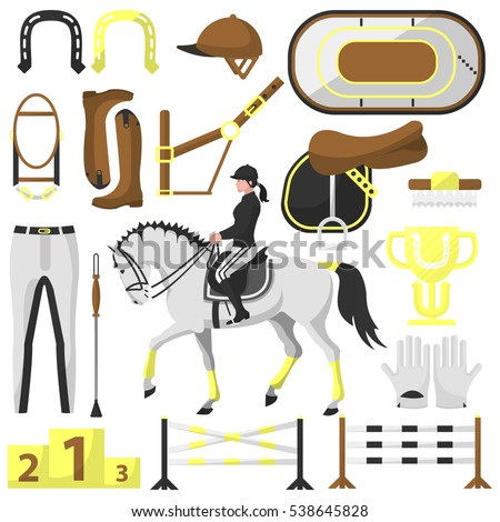 Vector set equipment for riding, equestrian sport or professional jockey club: horse saddle, helmet and boots, hippodrome, horseshoe and equine bridle. Horse racing flat illustration isolated on white