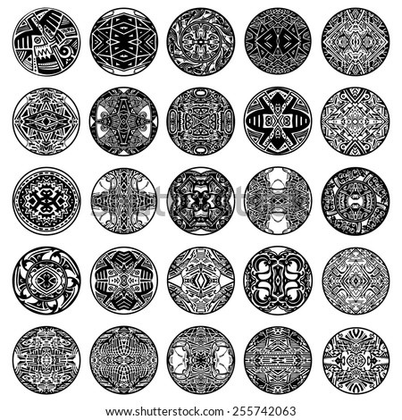 Vector set ethnic circle reminiscent of the Mayan ornament.