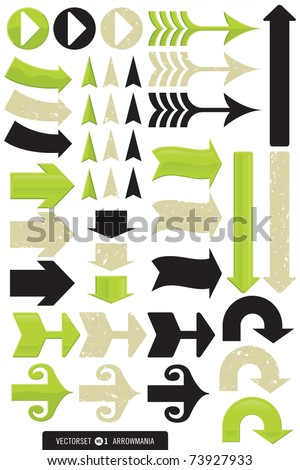 Vector Set - Every type of arrow you could ever need! Each one comes in 3, count 'em 3, different styles: shiny, grunge and plain. Great for signs, logos, ads, web, etc. - stock vector