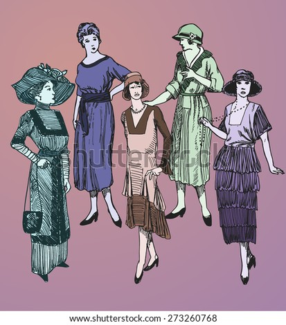 Vector set: Five hand drawn stylish women in retro looking clothes assuming pose - stock vector