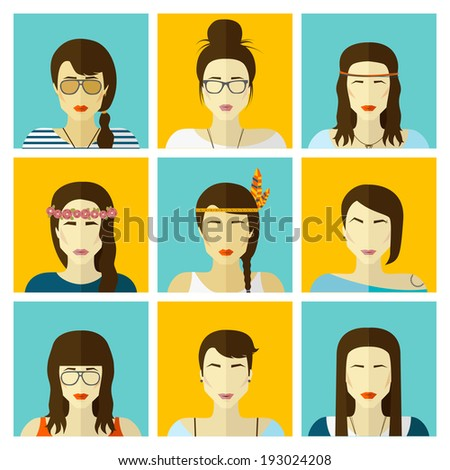 Vector set flat design icons. Stylish handsome hipster girls in modern and creative style. Website avatar symbols. Woman web media icons collection. - stock vector
