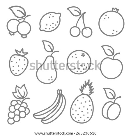 Vector set flat illustration of a fruits  - stock vector