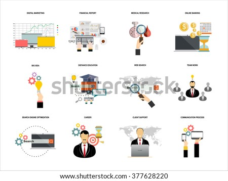Vector set  flat web icons on following themes - business and finance, education and knowledge, technology and hardware,web search,medical research,client support,digital marketing, - stock vector