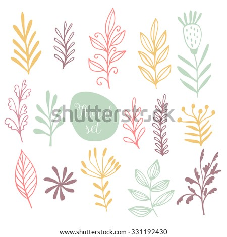 Vector set floral background  - stock vector